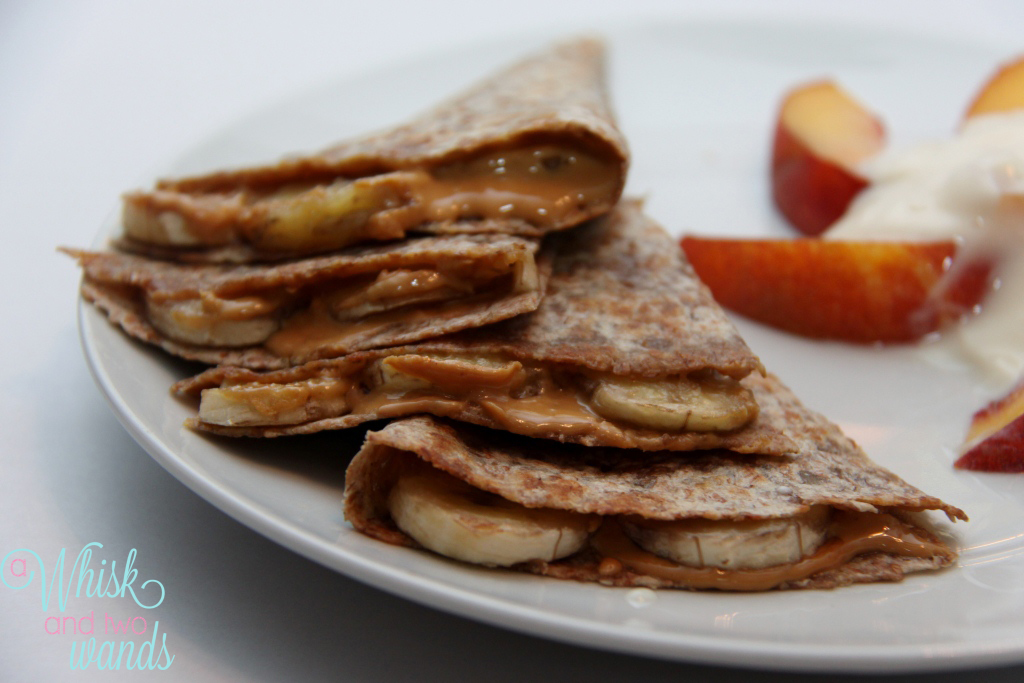 Peanut Butter Banana Quesadilla on a Sprouted Tortilla