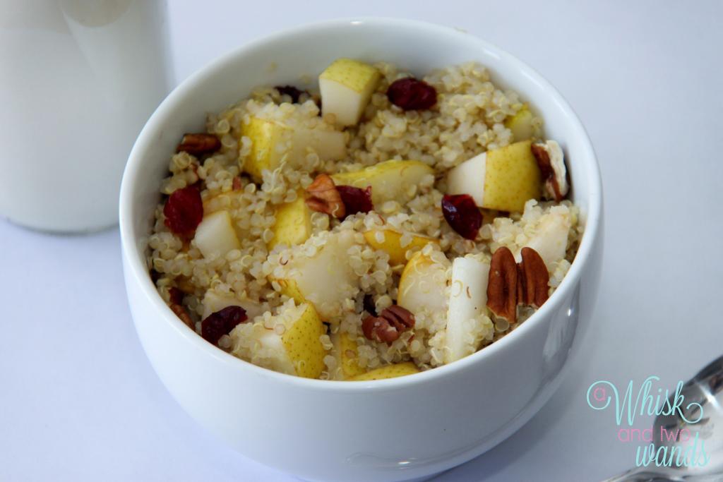 Pecan Pear Quinoa Breakfast Bowl