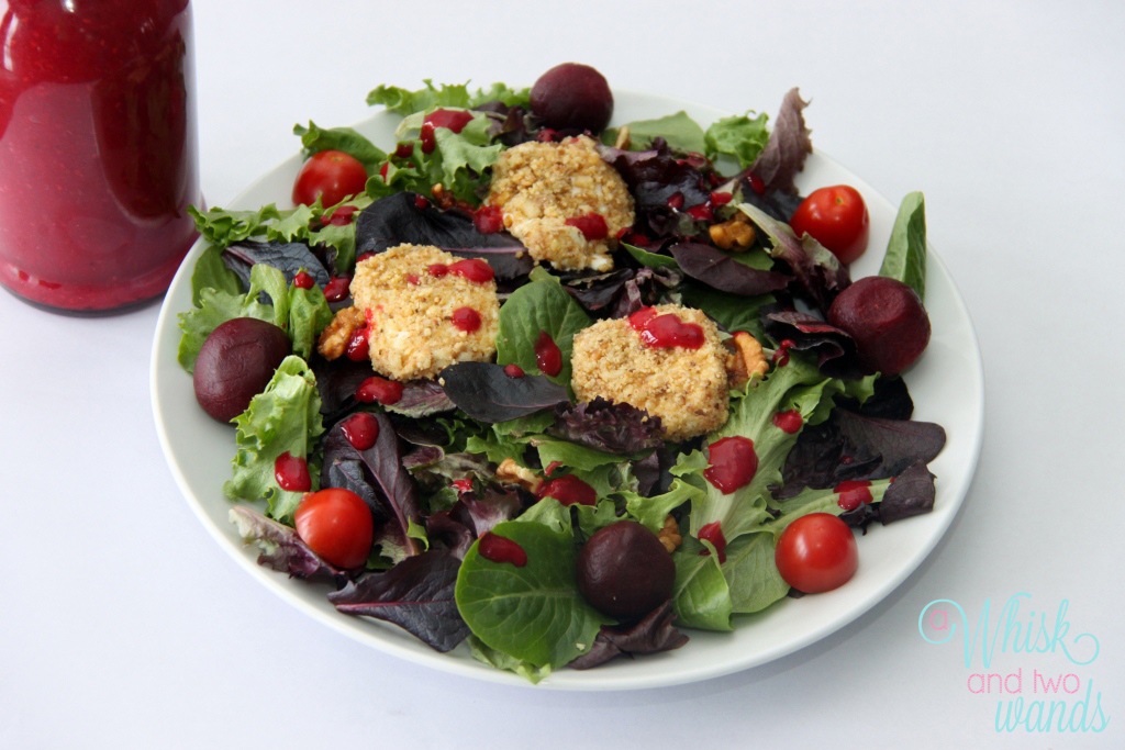 and Beet Salad topped with Candied Walnut Crusted Baked Goat Cheese ...