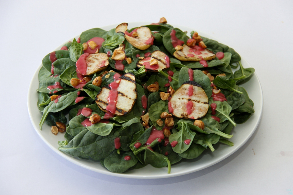 Grilled Pear Spinach Salad with Balsamic Beet Vinaigrette