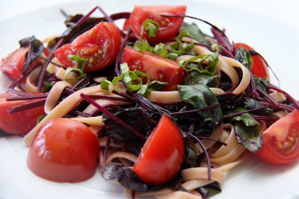 Pasta With Baby Beet Greens and Tomatoes
