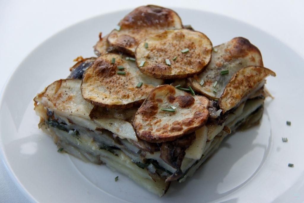 Mushroom and Spinach Potato Gratin