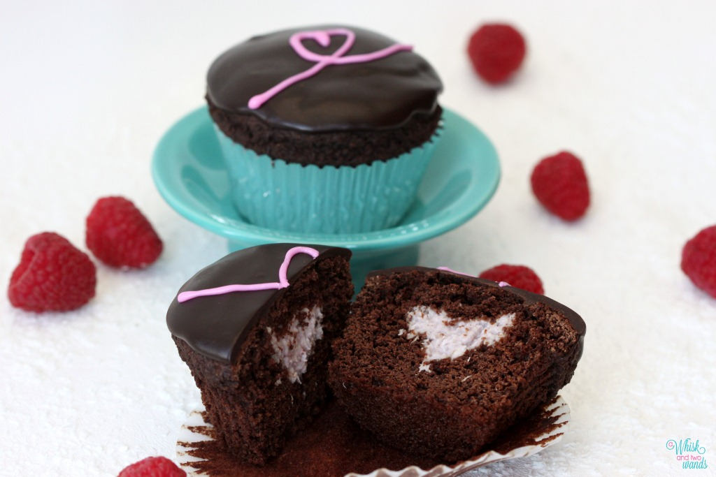 Sweetheart Chocolate Cupcakes with Raspberry Coconut Filling