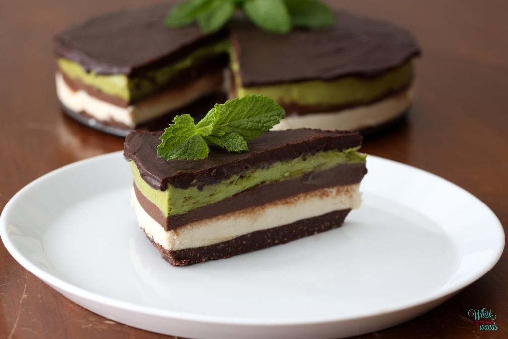 Raw Cashew Layered Chocolate Mint Mousse Cake