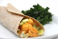 Buffalo Cauliflower Wrap with Blue Cheese Hummus