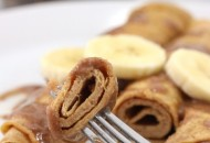 Protein Crepes with Cinnamon Roll Coconutter and Bananas