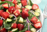 Strawberry Watermelon Cucumber Spinach Salad