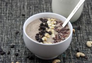 Nutty Espresso Smoothie Bowl  Made with homemade cashew milk, whole food, non protein version.