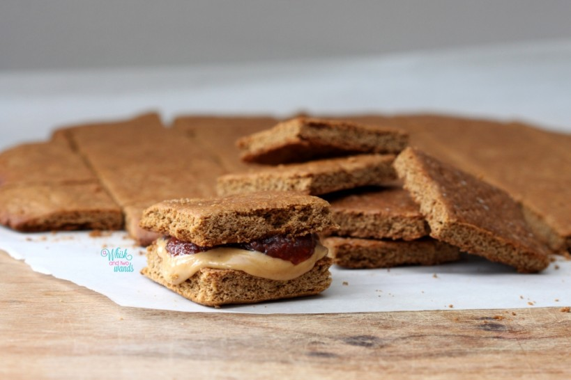 Thick soft, cake-like, grahams make tasty mini PB&J sandwiches!