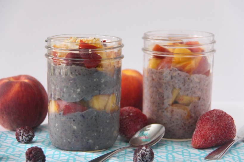 Berry Peach Overnight Chia Protein Oats (Blackberry) & Berry Peach Overnight Chia Oats (Strawberry)