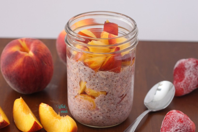 Berry Peach Overnight Chia Oats (Strawberry)