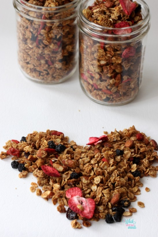 Summer Berry Granola  With strawberries, blueberries, cherries, mulberries, and goji berries.