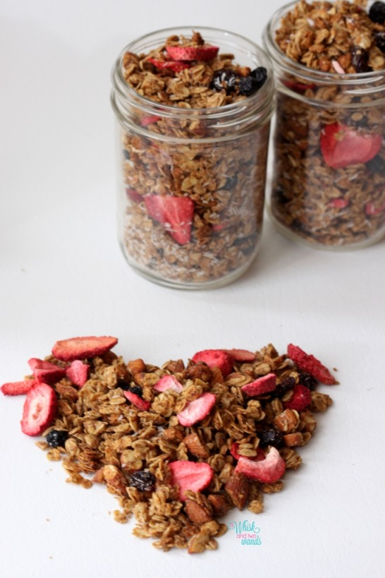 Summer Berry Granola  With strawberries, blueberries, cherries, and finely shredded coconut.