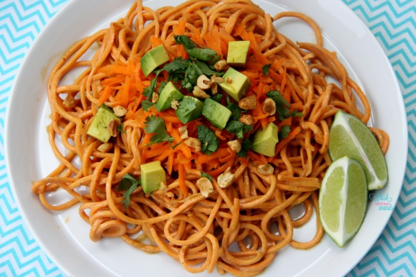 Crunchy Yam Noodles with Spicy PB Sauce