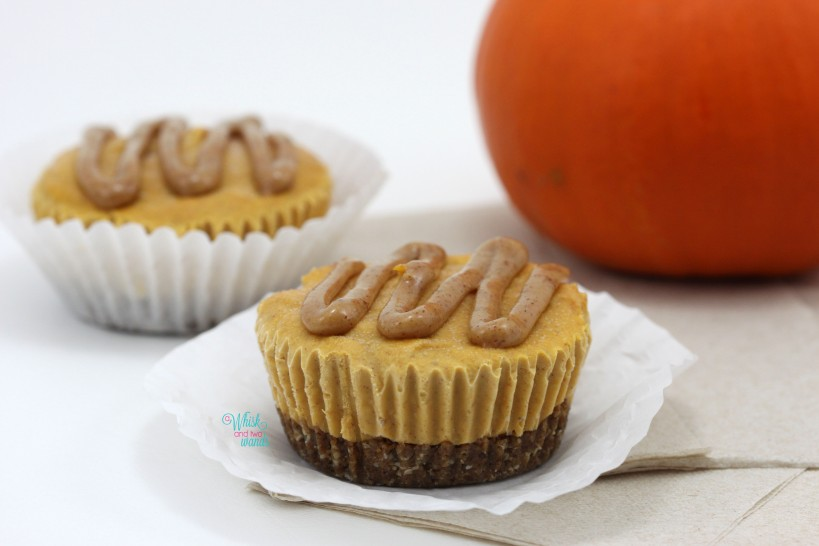 "Mini Pumpkin Spice Latte ""Cheesecakes"" with protein crust and almond butter maple ""caramel"" drizzle"