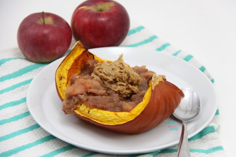 Peanut Butter Apple Pumpkin Boat with pumpkin peanut butter