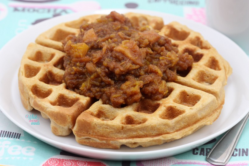 Pumpkin Pie Applesauce is delicious on top of waffles!