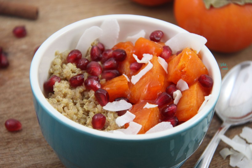 Persimmon and Pomegranate Quinoa Breakfast Bowl