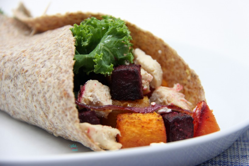 Butternut Beet Burrito with chicken