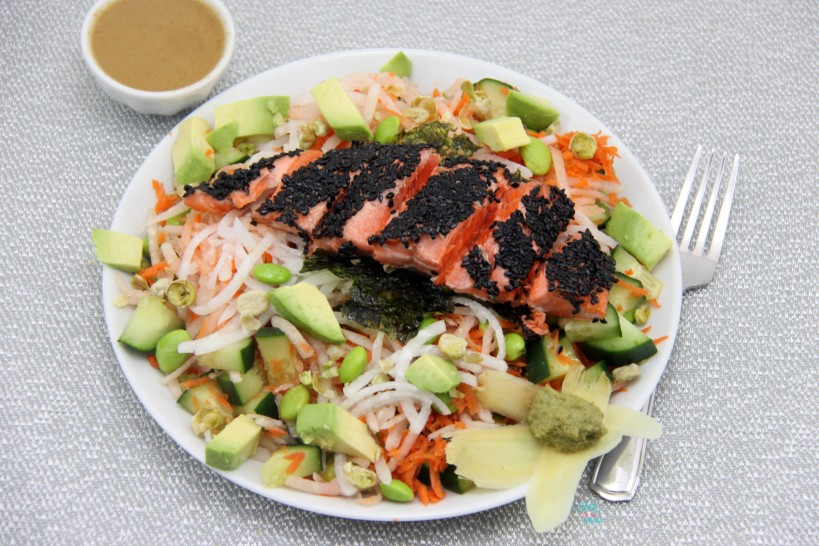 Deconstructed Sushi Salad with Black Sesame Crusted Sockeye Salmon