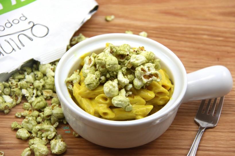 Popcorn Mac N Cheese Casserole topped with Kale & Sea Salt Popcorn