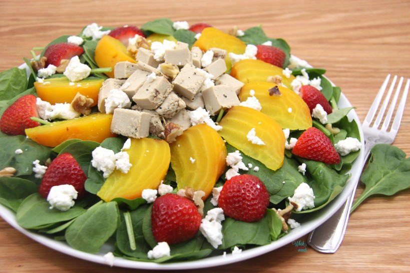 Strawberry Beet Chicken Spinch Salad