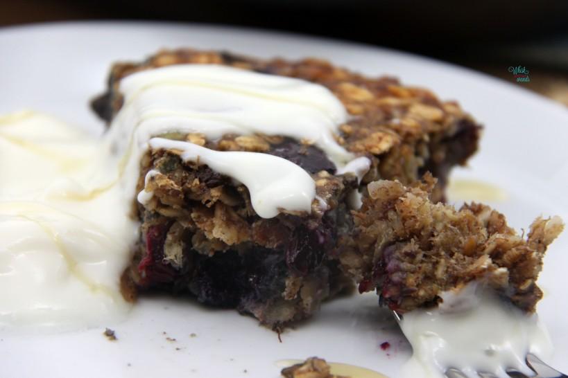 Blueberry Muesli Breakfast Cake with yogurt and honey
