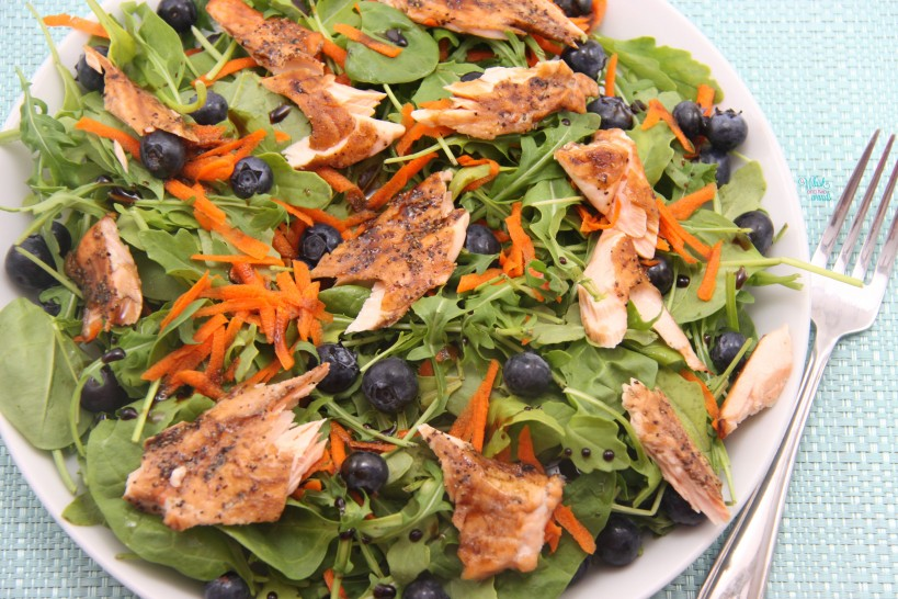 Maple Balsamic Blueberry Salmon Salad