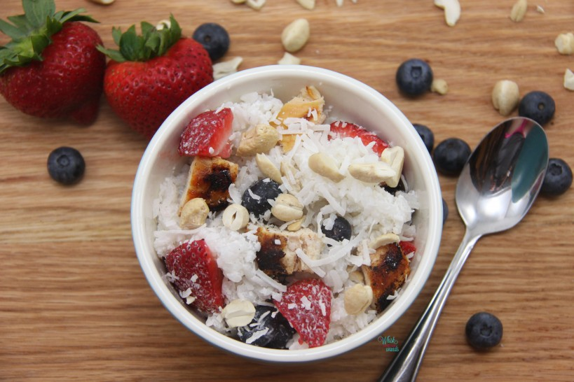 Red, White, and Blue Berry Rice Bowls with grilled chicken