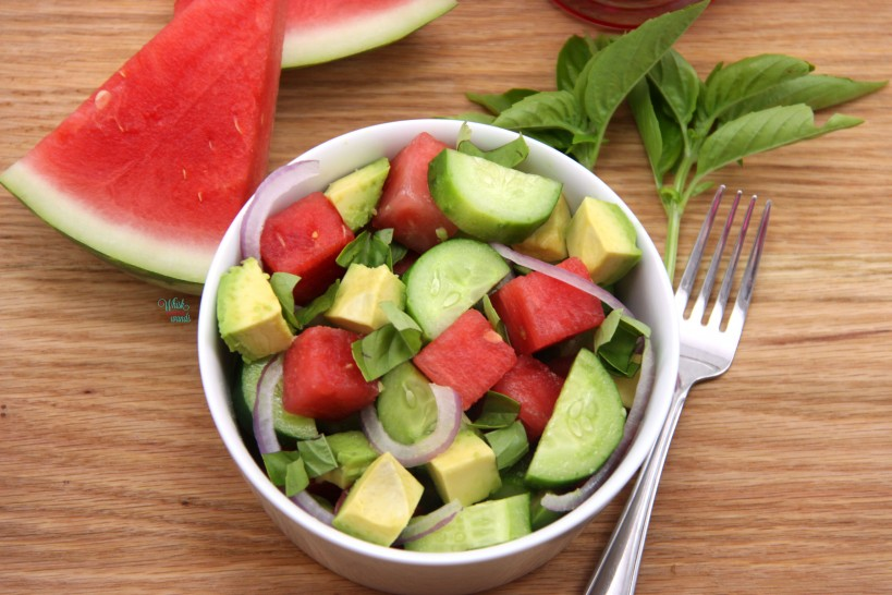 Watermelon Avocado Cucumber Salad