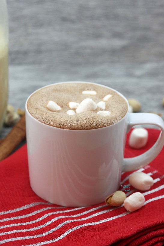 Pistachio Hot Cocoa made with cacao and topped with Dandie's Marshmallows.