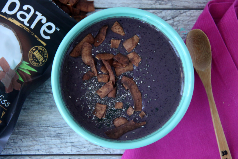 Acai Protein Smoothie Bowl with chocolate coconut chips and chia seeds. (vegan and gluten free)