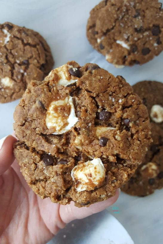 Chocolate Chip Sea Salt Marshmallow Peanut Butter Cookies (vegan, gluten free)