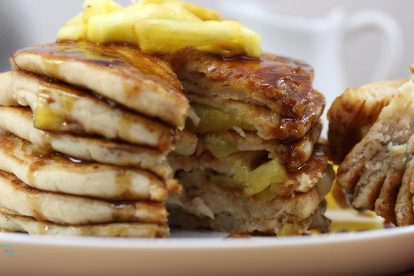 Pineapple Pancakes with Caramel Maple Syrup (vegan and gluten free)