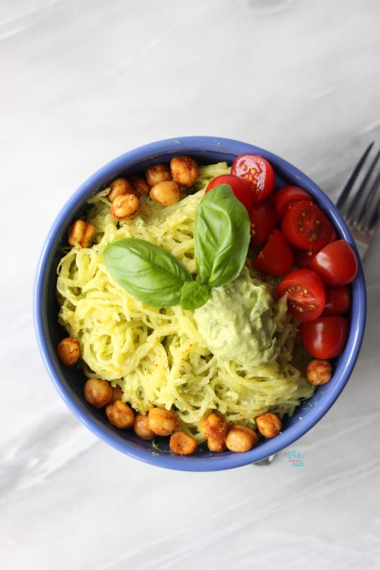 Avocado Pesto Spaghetti Squash with crunchy habenero roasted chickpeas and tomatoes. (gluten free, vegan, paleo)