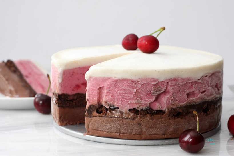 Black Forest (Chocolate Cherry Brownie) Ice Cream Cake (vegan and gluten free friendly)