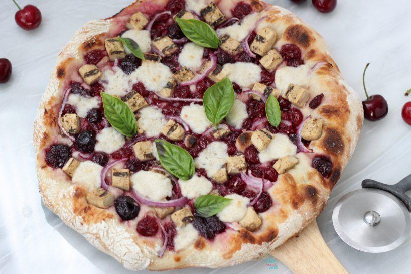 Cherry Chicken Pizza (vegan)