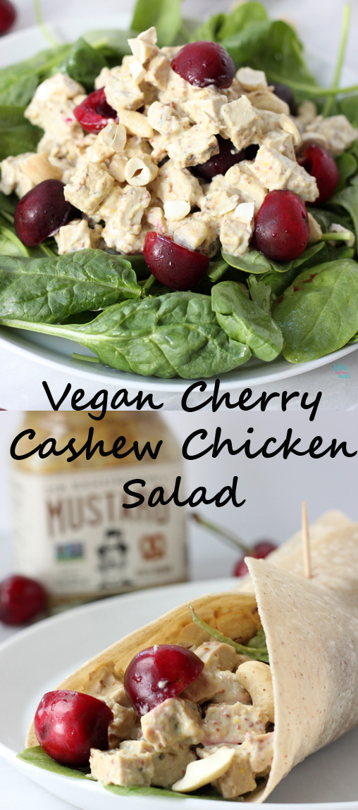 Quick and easy protein packed Vegan Cherry Chicken Salad.