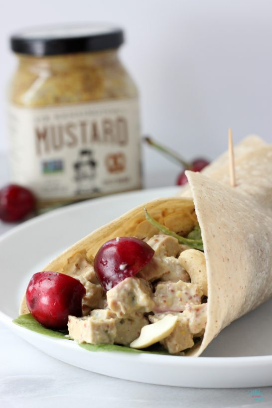 Vegan Cherry Cashew Chicken Salad Wrap (gf brown rice tortilla)