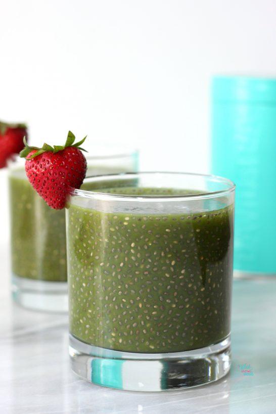Matcha Chia Made with Strawberry Matcha powder for a Strawberry Matcha Chia.