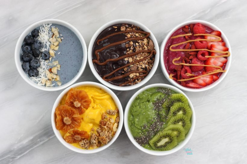 Olympic Smoothie Bowls, with toppings