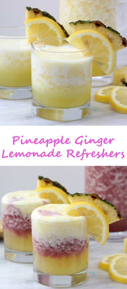 Quick and easy Pineapple Ginger Lemonade Refreshers are perfect for sunny summer day! Superfood maqui version and cocktail version are also a delicious option!