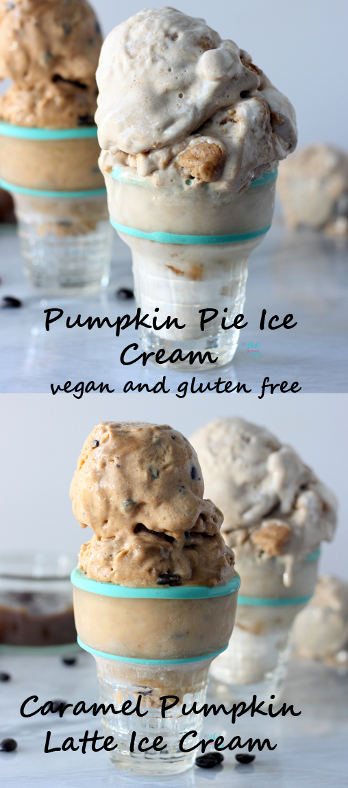 Delicious easy o make, no machine required, pumpkin ice creams! Pumpkin Pie Ice Cream and Caramel Pumpkin Latte Ice Cream, dairy free, gluten free, and vegan!
