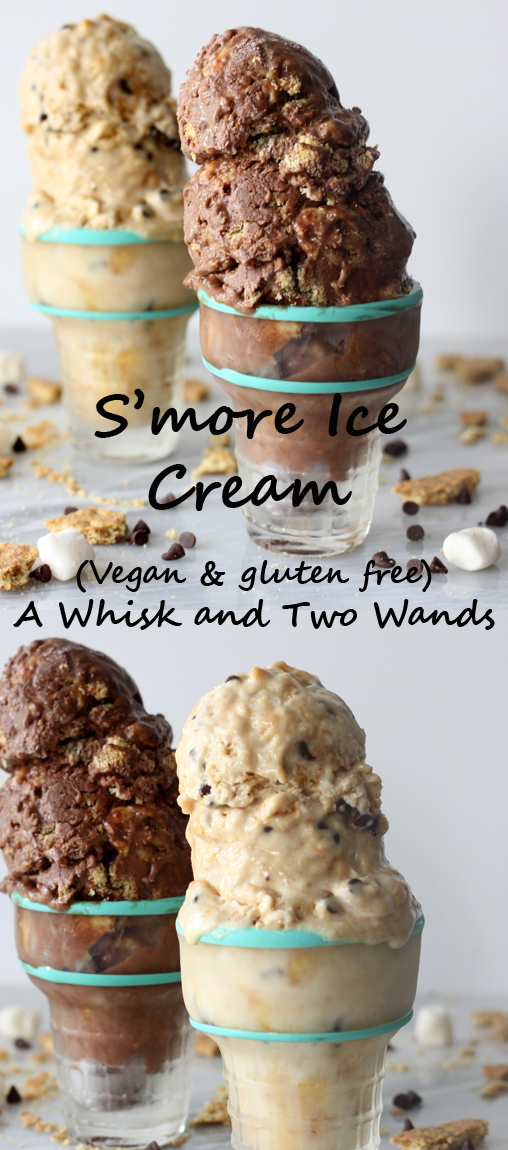 Delicious S'more Ice Cream that's vegan, gluten free, and easy to make (no machine required)!