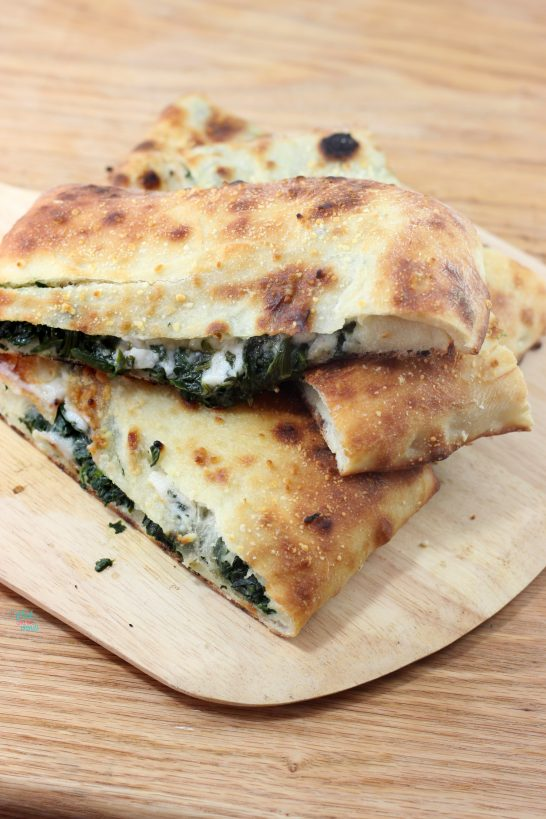 Spinach Garlic Stuffed Pizza (vegan, dairy free)
