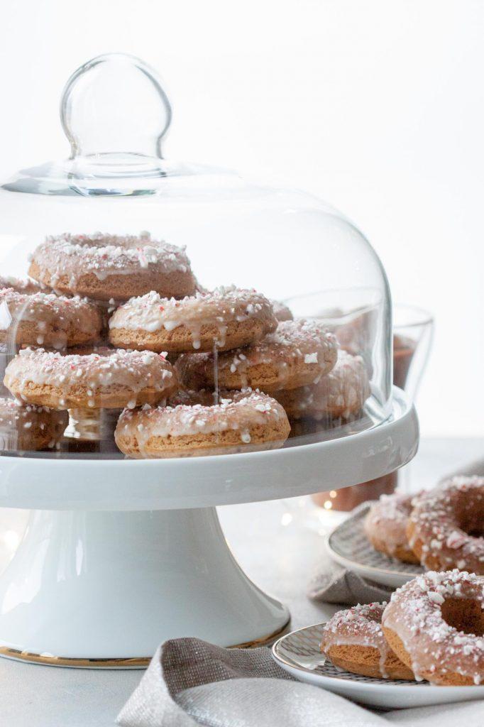 Candy Cane Crunch Donuts (gluten free, vegan)