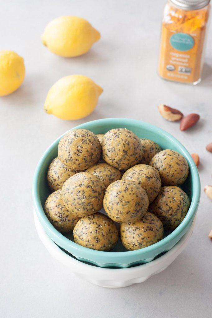 Lemon Chia Protein Cake Bites