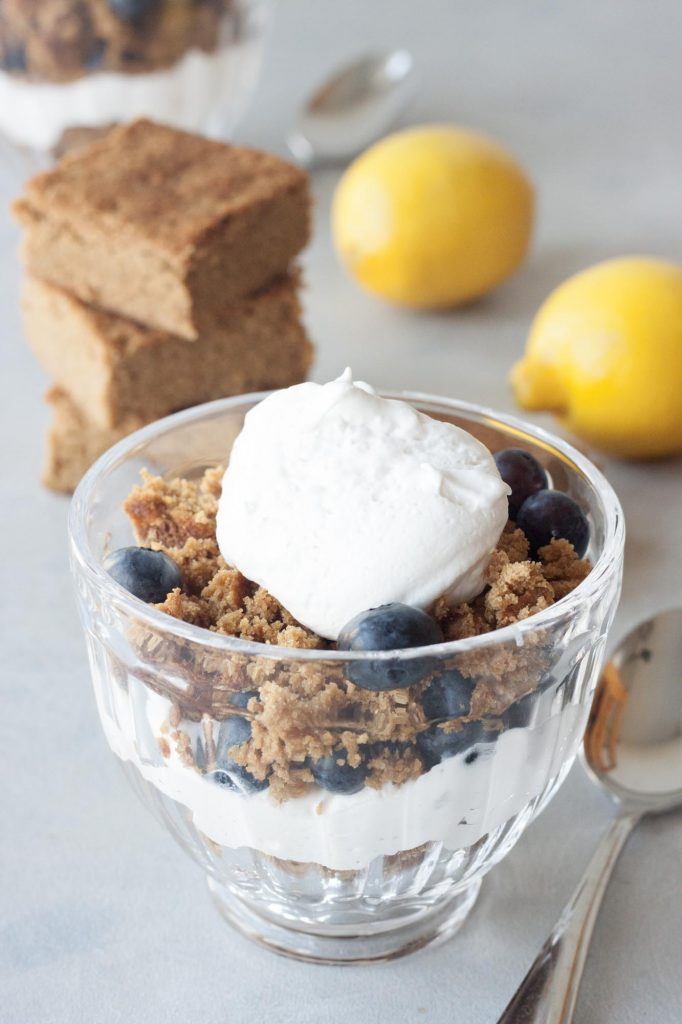 A Whisk and Two Wands, Grain Free Lemon Blondies and Lemon Blondie Blueberry Trifle (vegan, gluten free)