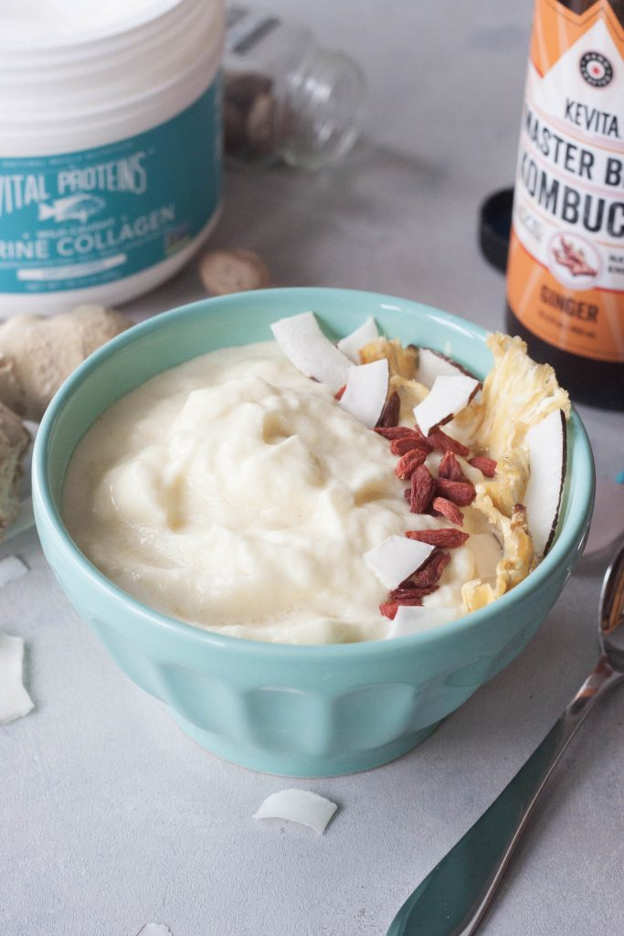 Ginger Kombucha Pineapple Smoothie Bowl, A Whisk and Two Wands