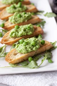 Crostini with Fresh Pea Pesto , A Whisk and Two Wands